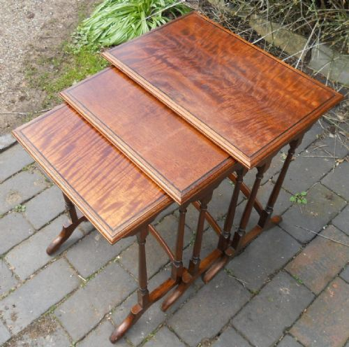 Georgian Style Satin Mahogany Tall Nest of Tables